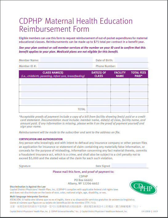 Maternal Health Education Reimbursement Form